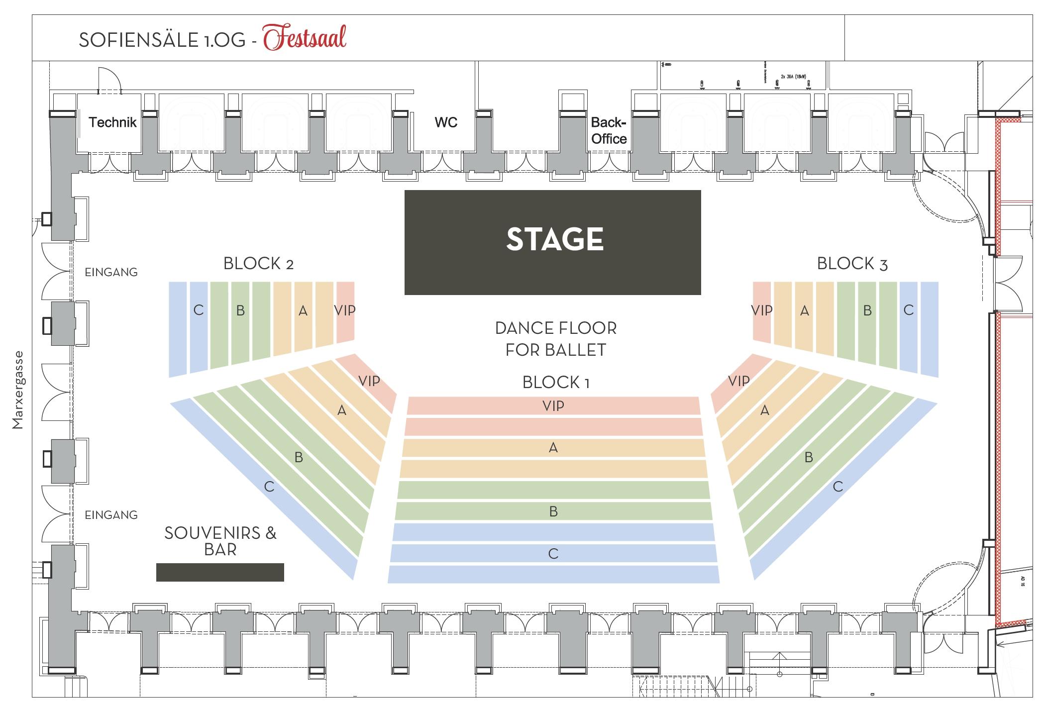 Der Saalplan der Sofiensäle im 1. OG, Kategorien Vip, A, B, C für die klassischen Konzerte Johann Strauss Konzerte Wien